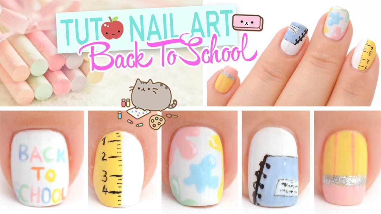 Tuto Nail art ♡ Back To School - YouTube