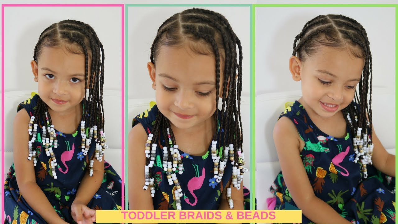 Toddler Summer Cornrows Braids Beads On Curly Wavy Hair Youtube