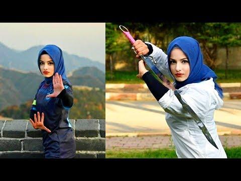 World Most  Beautiful Hijab Girls Martial arts training and Workout