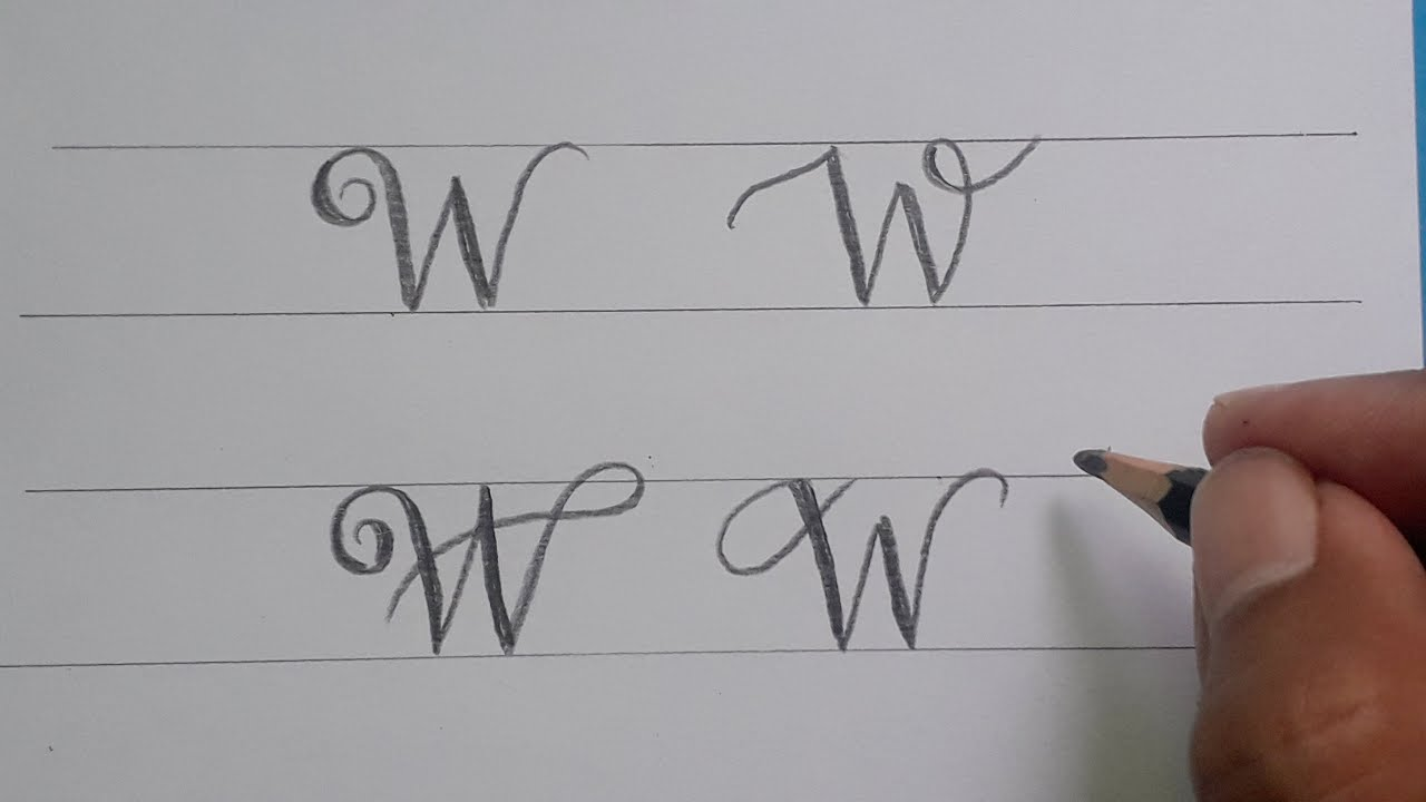 Calligraphy Handwriting Letter W in Cursive Design / How To Write Stylish  Alphabet For Beginners
