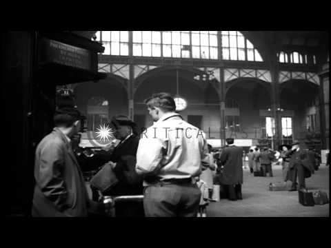 Several views at Pennsylvania Railroad Station in New York City. HD Stock Footage