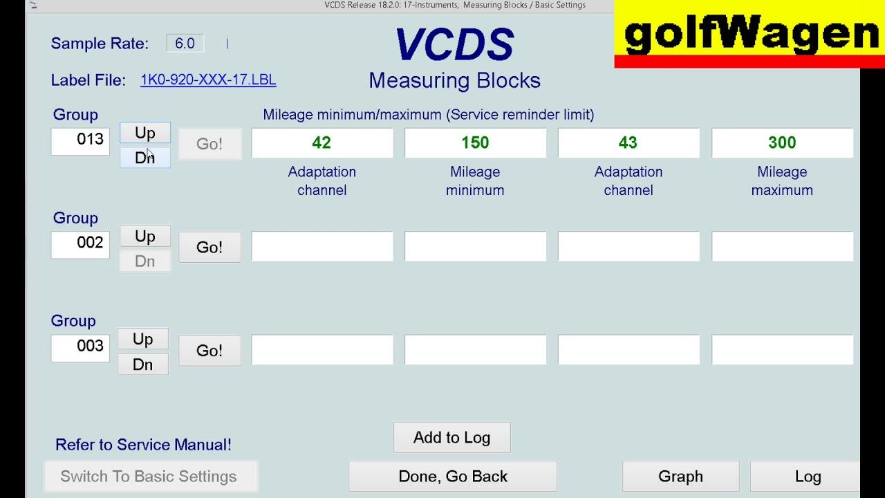VCDS-VAG instruments cluster measure blocks on VW, Audi, Seat, Skoda  2004-2009