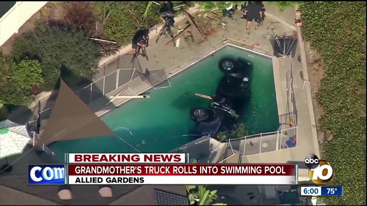 Grandmother 39 s car rolls into allied gardens pool youtube for Allied gardens swimming pool