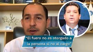 El presidente nacional del PAN, Marko Cortés dijo que corresponde al Congreso estatal retirar el fuero, lo que en este caso no ocurrirá