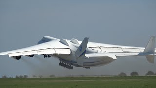 "Plane Spotting Biggest Airplane GIANT ANTONOV AN-225 ""Mriya"" Amazing Takeoff & Demo Flight ILA"