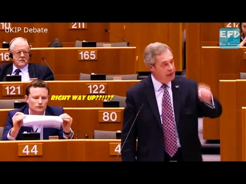 Nigel Farage - EU Parliament on Trump - Labour MEP Seb Dance Gets Busted For Placard - 01/02/2017