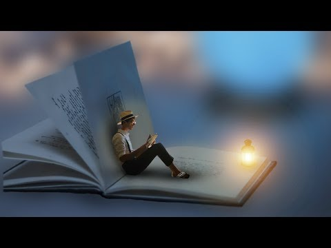 Les 112 Photoshop Tutorial - Person Reads Book While Sitting In A Big Book