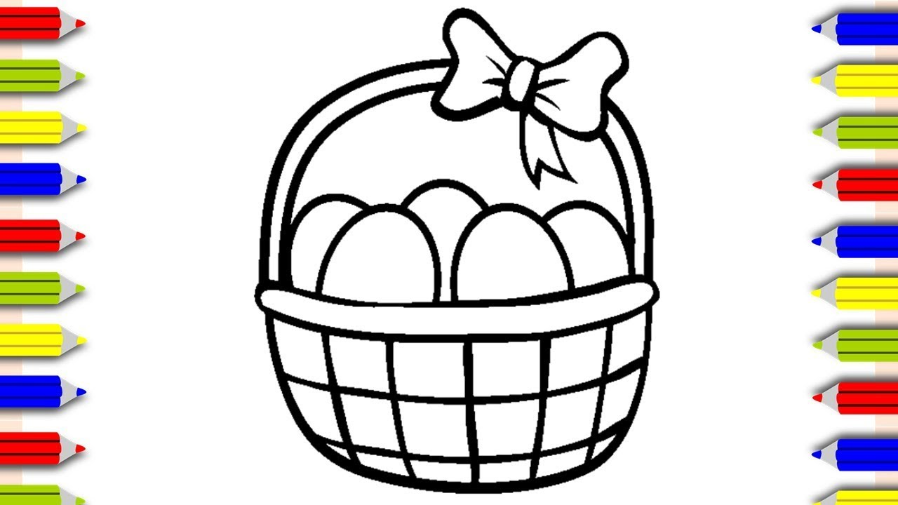 Coloring Easter Basket Coloring Pages For Kids Cocuklar Icin