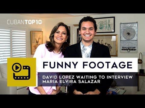 Funny Footage: David Lopez waiting to interview Maria Elvira Salazar