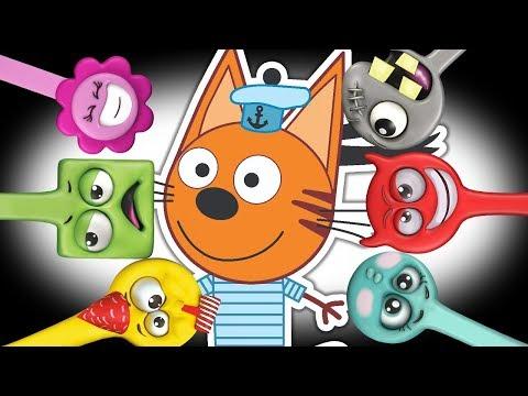 Три кота и Разноцветные Скрепыши магнит Коржик и Лизун ищут друзей и скрепыши