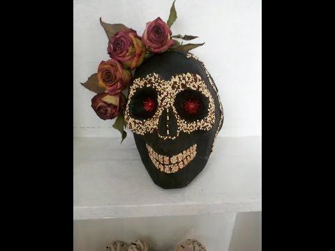 DIY Paper Mask (Skull) Como hacer una mascara de papel (cráneo)