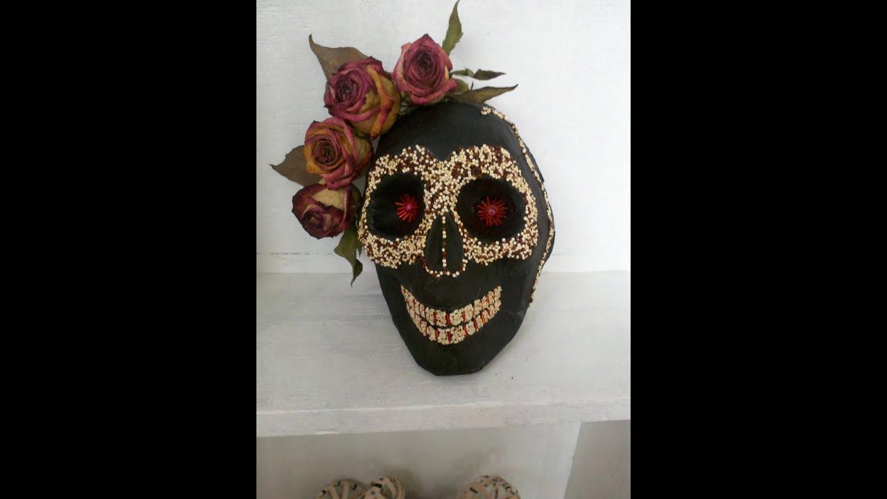 Diy paper mask skull como hacer una mascara de papel - Como hacer una mascara ...