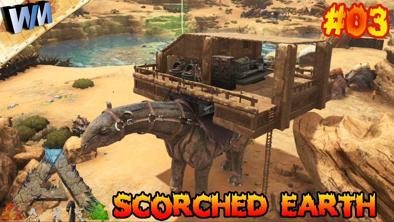 Ark Scorched Earth Ep03 Clay Caravan Build Gameplay Youtube