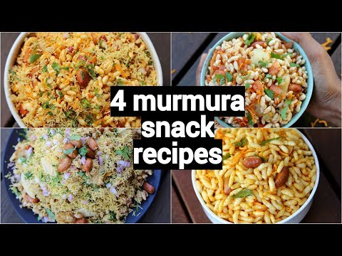 4 bhel snack recipes | murmura recipes | quick and easy snack recipes with murmura