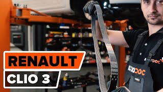 Poly v-belt installation RENAULT CLIO: video manual