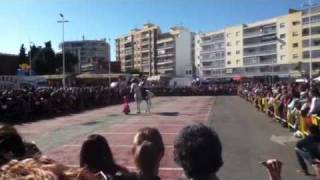Little girl dancing with Andalusian horse of Jerez de la Fr