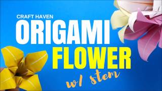 Origami Flower Easy Tutorial - Lily Origami Flower W/ Stem - DIY Paper Flower - Craft Haven
