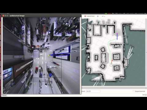 Human-Aware Navigation using External Omnidirectional Cameras - Experiment 4 (Realistic Scenario)