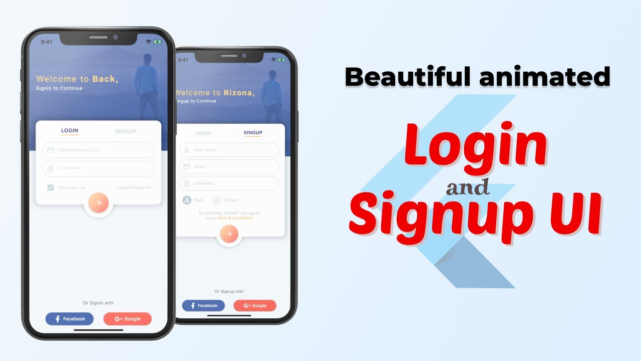 Flutter tutorial | Beautiful login and sign up page UI