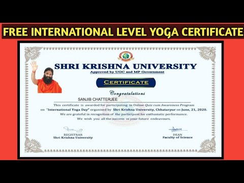 Yoga Certificate | International Yoga Certificate | Free Online Government Certificate | Free Course