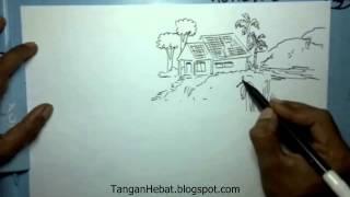 video belajar menggambar rumah di desa yang damai