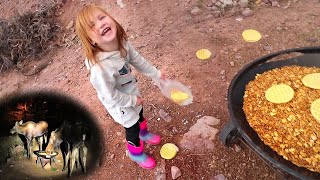 WE CAUGHT A MOOSE!! Adley Learns to Feed Animals at the Family Cabin (first time for Niko)
