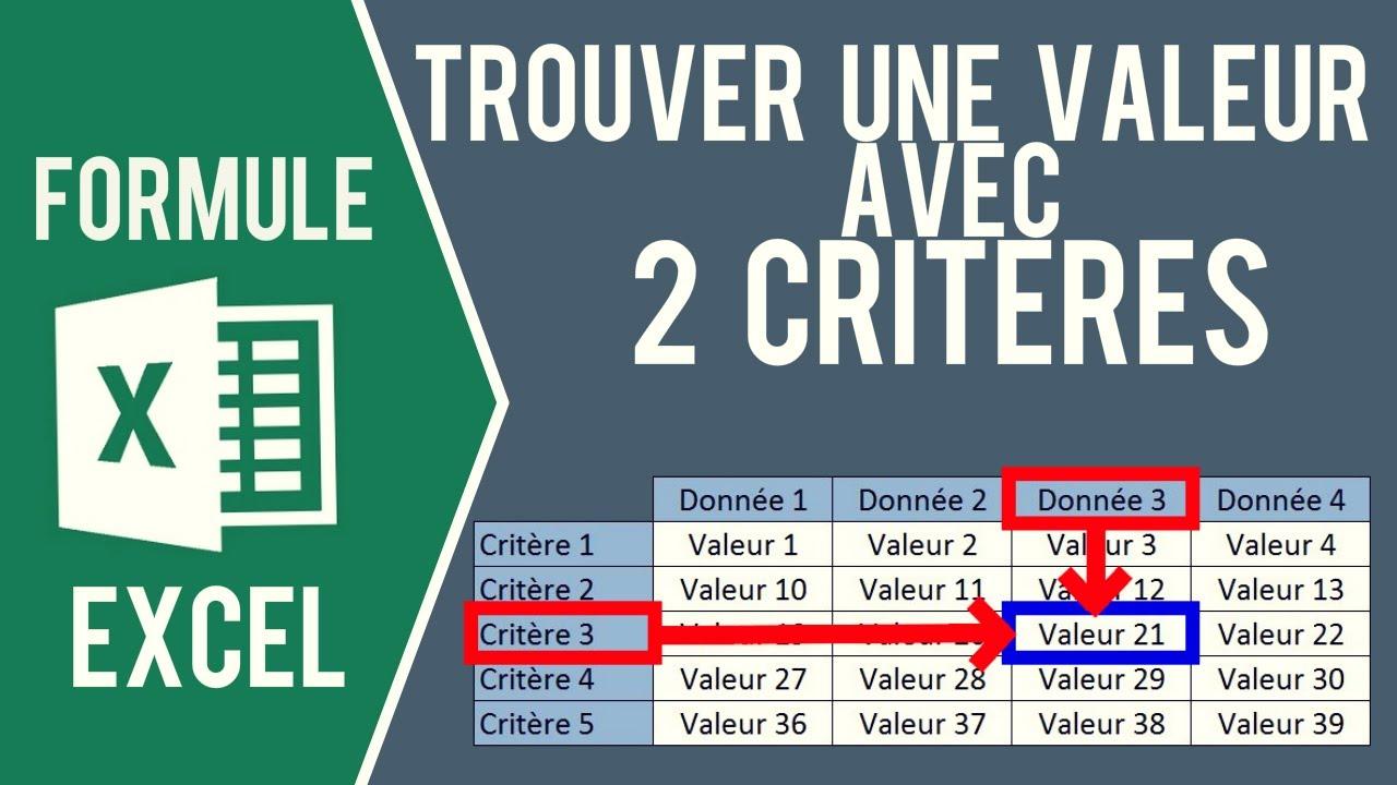Excel Trouver Une Valeur Dans Un Tableau Avec 2 Criteres Formules Index Equiv Equiv Youtube