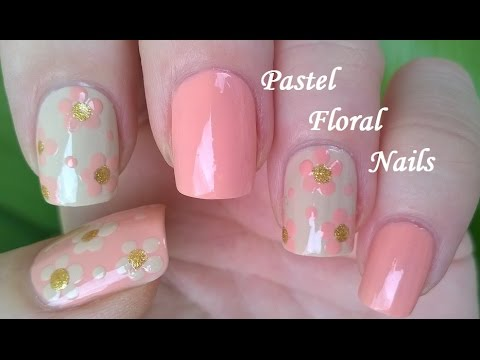 Pastel Pink Beige Floral Nail Art For Spring Summer Romantic