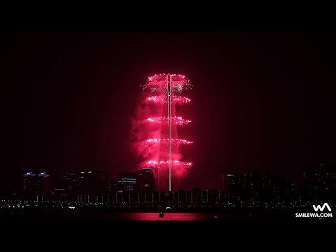 Lotte World Tower (555 Meters) Fireworks Festival @170402 Seoul, Korea Filmed in 4K by -wA-