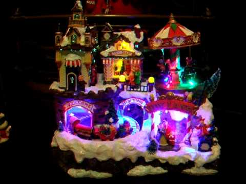 Illuminated Animated Christmas Village With Train And Carousel ...