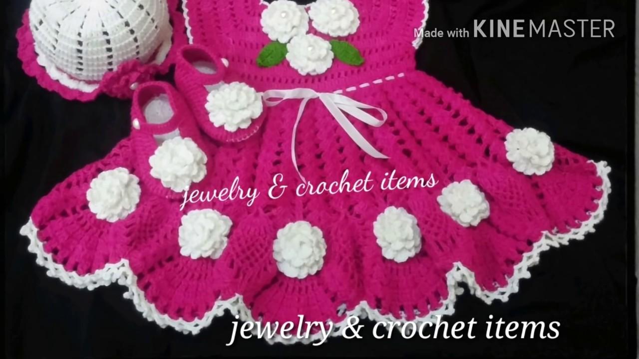 004419a9013e Beautiful handmade crochet baby frocks collection - YouTube