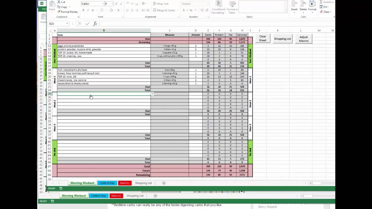 meal prep spreadsheet