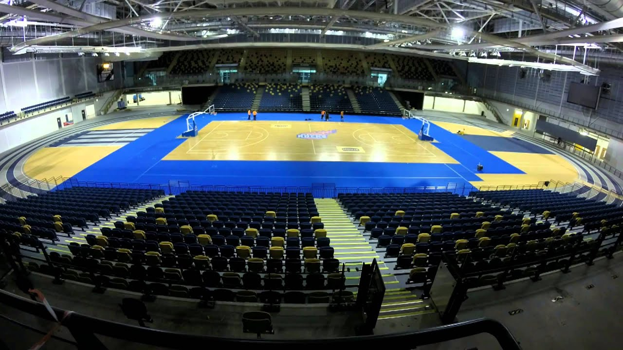Time-lapse of the Glasgow Rocks Court Build at the Emirates Arena - YouTube