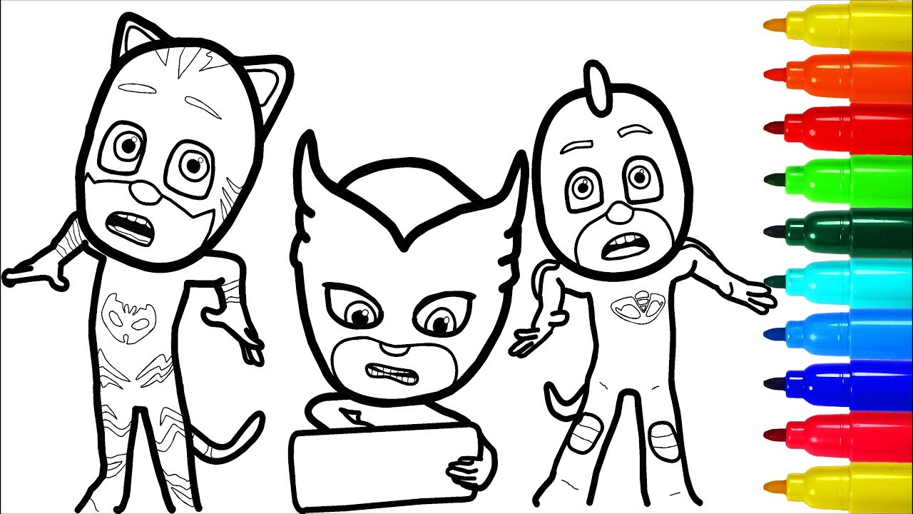 PJ Masks Coloring Pages | Colouring Pages for Kids - YouTube