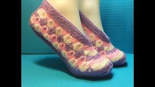Вязание спицами домашние тапочки #195
