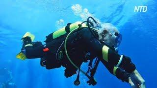 96-летний дайвер-рекордсмен погрузился на глубину 42 метра