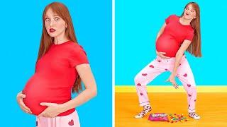 DESAFÍO DE ESTAR EMBARAZADA POR 24 HORAS || Situaciones divertidas de embarazo de 123 GO!
