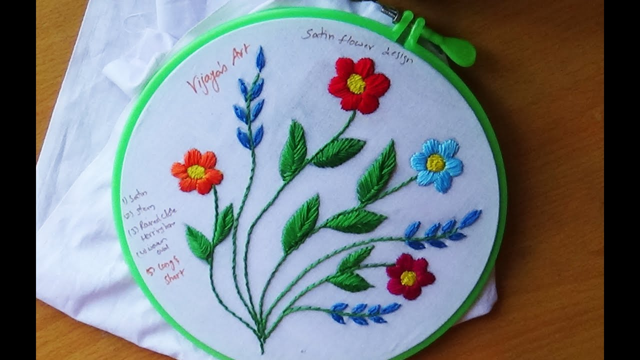Hand Embroidery Designs 107 Satin Stitch Design Youtube