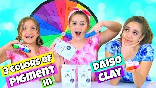 Mystery Wheel 3 Colors of Pigment in Daiso Clay Slime Challenge!
