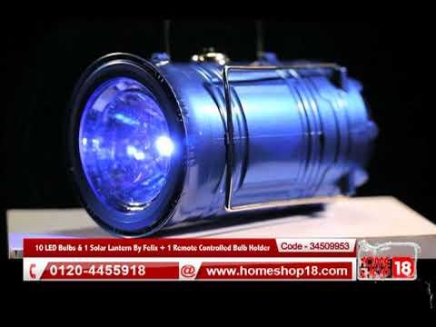 Homeshop18.com - 10 LED Bulbs & 1 Solar Lantern By Felix + 1 Remote Controlled Bulb Holder
