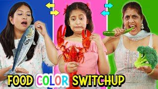 EATING One COLOR Food SWITCH UP Challenge | MyMissAnand