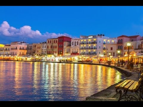 Walk Through Chania Crete Harbour and Market λιμάνι