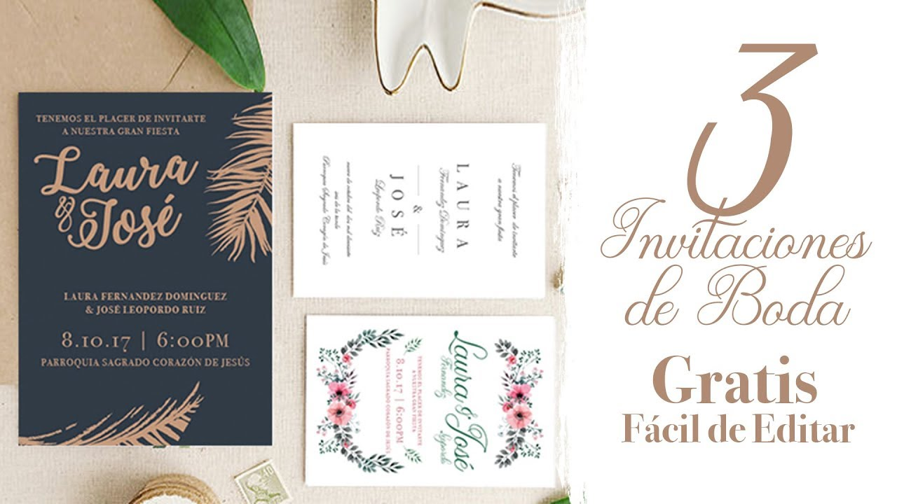 3 Invitaciones De Boda Gratis Fácil De Editar