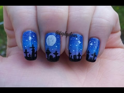 Halloween Night Time Graveyard Scene Nail Art - YouTube