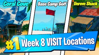 Visit Coral Cove, Base Camp Golf, and Unremarkable Shack LOCATIONS - Fortnite Week 8 Challenges