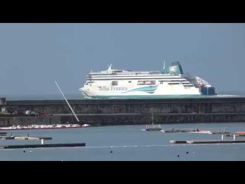 Irish Ferry Ulysses passes behind Holyhead Port breakwater to Dublin 6.3.18