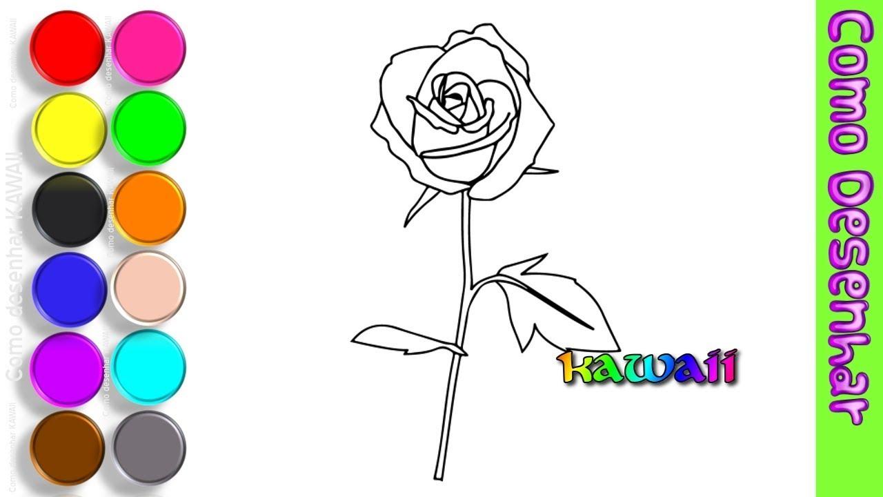 Como Desenhar Uma Rosa Colorir Desenhos Para Criancas Flores
