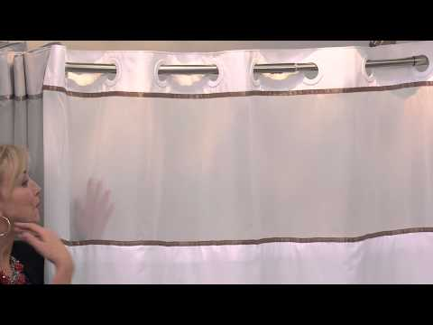 Hookless Windsor Color Block 3 in 1 Shower Curtain with Jayne Brown