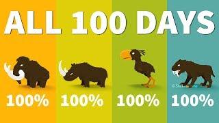 Big Hunter All 100 Days | MAMMOTH, RHINO, TERROR BIRD, SMILODON