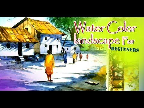 JKR  ART , Water Color landscape For beginners Tutorial  , subhajit # ssk